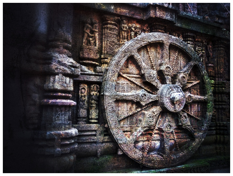 ancient structure with wheel
