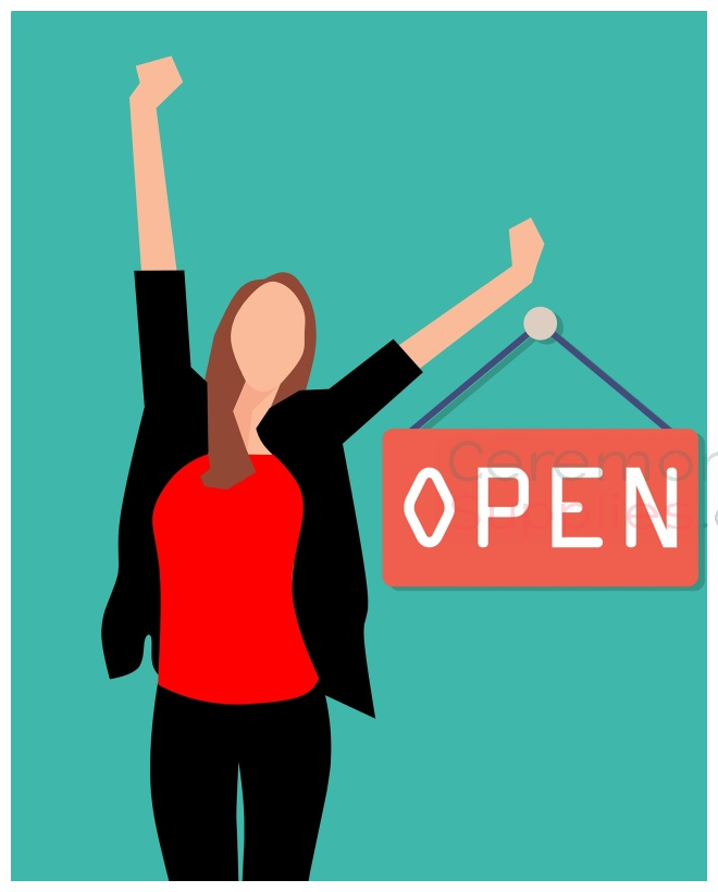 Animated woman holding open sign