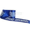 Royal blue printed ribbon displaying text.