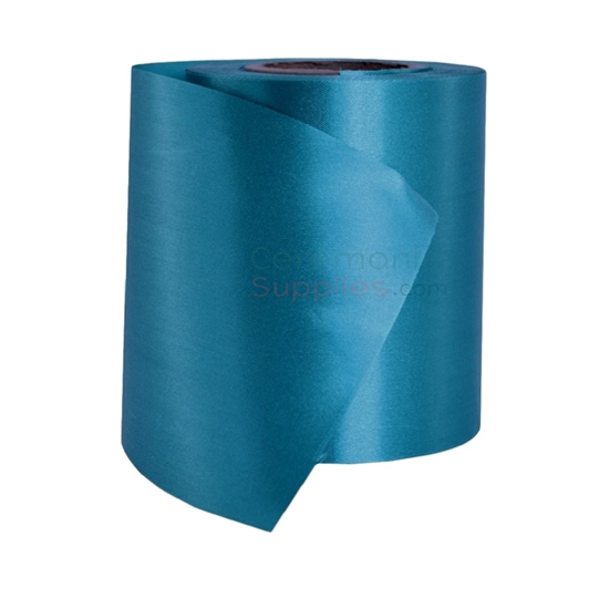Blank teal ribbon roll; main view.