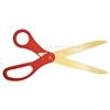 Image of golden blade scissors with red handles.