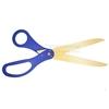 Ceremonial golden scissors with blue handles.