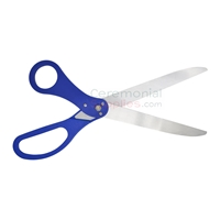 Open blades of royal blue ribbon cutting scissors.