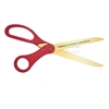 Red pre-printed ribbon cutting ceremony golden blade scissors showing text.
