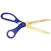 Pre-printed ribbon cutting ceremony scissors in blue with golden blades.