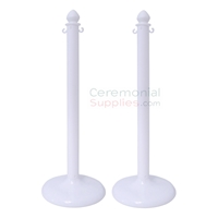 Main View of assembled 2 Piece White Plastic Stanchion Set.
