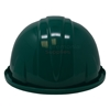 Green ceremonial groundbreaking hard hat from back side.