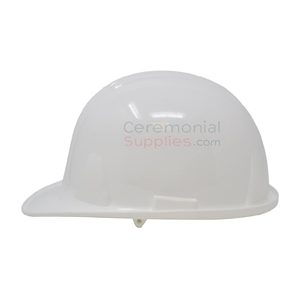 Side view picture of a White Groundbreaking Hard Hat.