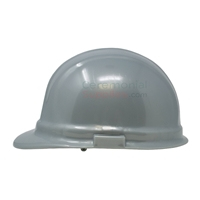 Side look picture of a Silver Ceremonial Groundbreaking Hard Hat.