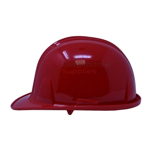 Side view of a ceremonial groundbreaking red hard hat.