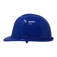 Picture of side of the ceremonial royal blue groundbreaking hard hat.