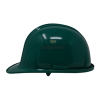 Picture of a green ceremonial hard hat from side angle