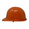 Picture of a Orange Ceremonial Groundbreaking Hard Hat from the side profile.