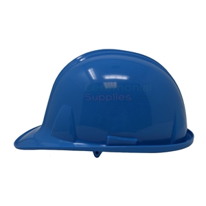Picture of a Light Blue Groundbreaking Hard Hat Side View.