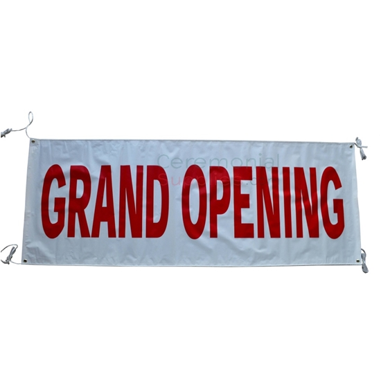Picture of a Plain White And Red Grand Opening Banner.