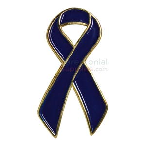 Picture of a Blue Ribbon Support Lapel Pin.