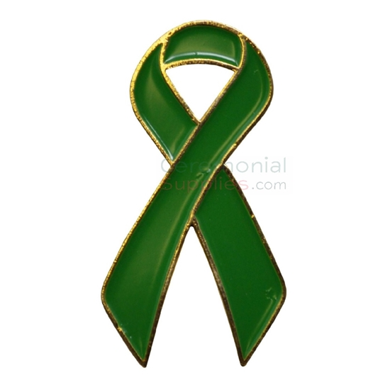 Picture of a Green Support Ribbon Lapel Pin.