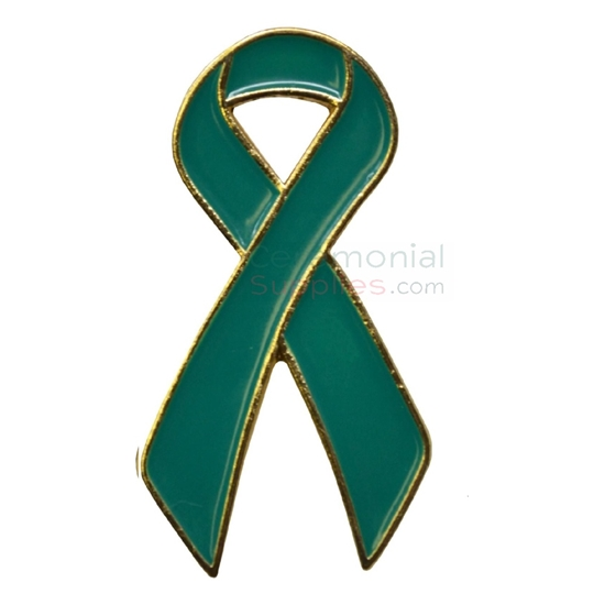 Picture of a Teal Support Ribbon Lapel Pin.