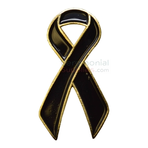Picture of a Black Looped Ribbon Lapel Pin.
