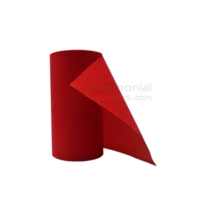 Picture of an upright Ceremonial Red Velvet Grand Opening Ribbon.