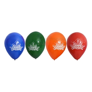 Photo of all 11 Inch Assorted Grand Opening Balloons White Text.