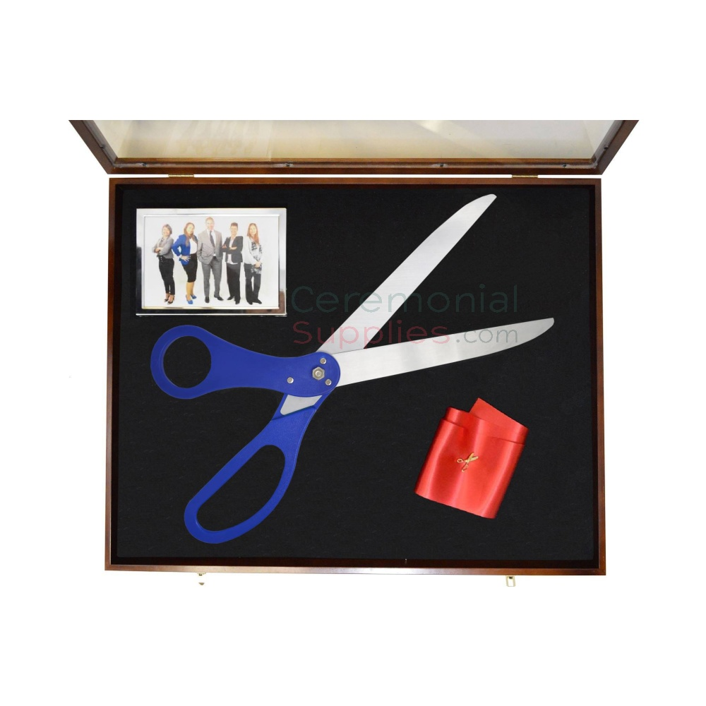display case with ribbon and scissors