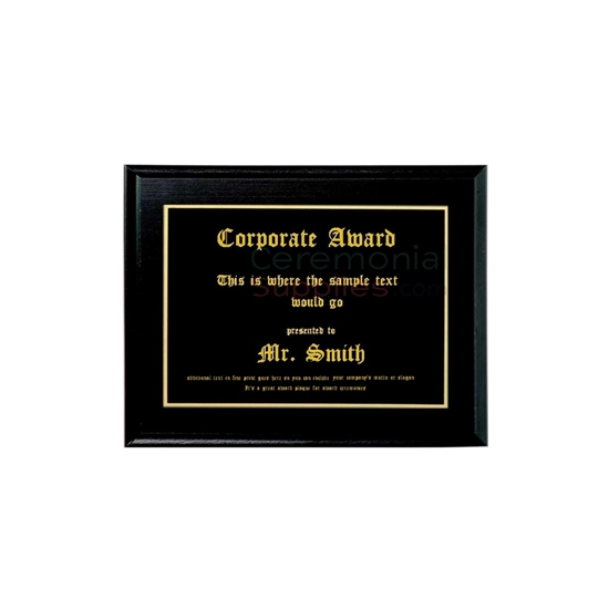 A front view of a 10 X 8 Black Recognition Plaque.