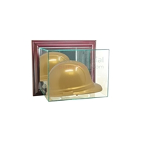 Front view of wall mounted hard hat display with hard hat in it.