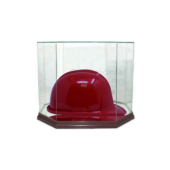 Picture of octagonal hard hat display with hard hat inside.