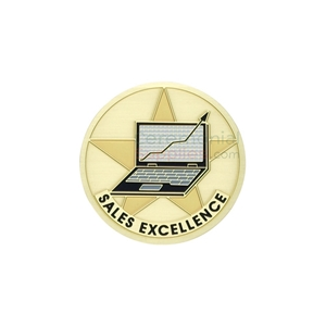 Image of a Sales Excellence medal that presents a computer visualizing the rising charts.