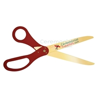 Picture of red customizable giant scissors with golden blades.