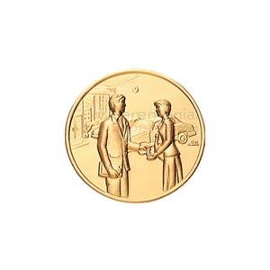 Image of a Top Auto Sales Producer Medal featuring a salesman sealing a deal with a customer.