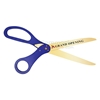 Picture of royal blue grand opening scissors with custom logo.