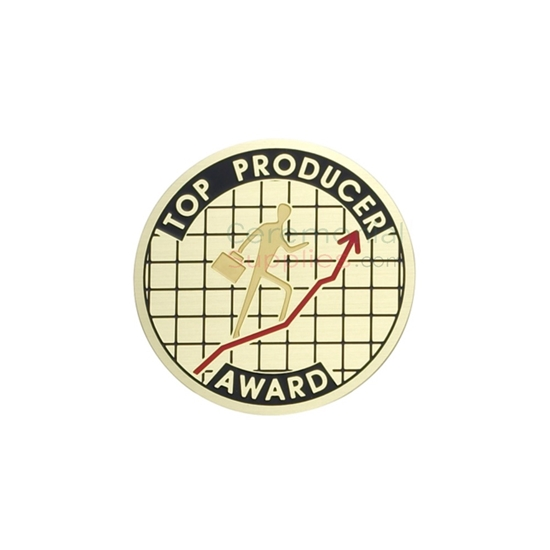 Image of the Top Producer Award with a man holding a briefcase walking up the charts.