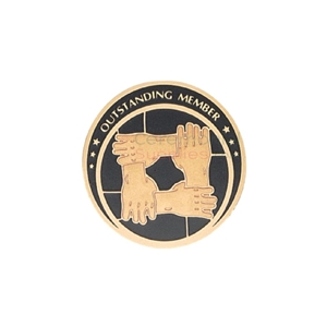 Front view picture of an Outstanding Team Member medal depicting an image of four hands holding each other in support.
