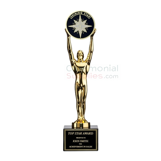 Image of the Accomplishment Champ Award that features a figurine holding up a shining star.