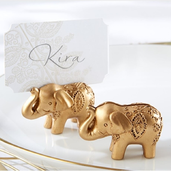 Front view of a Embossed Golden Elephant Card Holder.