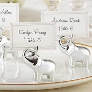 Picture of a Silver Elephant of Blessings Place Card Holder.