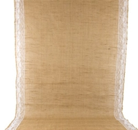 View of a Burlap Wedding Aisle Runner with Lace on white background.