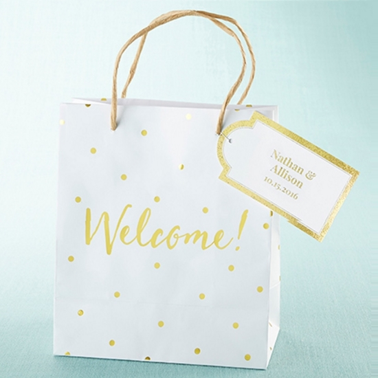 View of Golden Polka Dotted Welcome Bags.