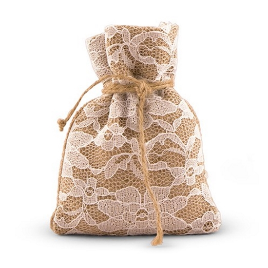 Front view image of the Burlap and Lace Favor Bag.
