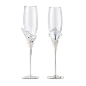 Photo of two Calla Lily Champagne glasses.