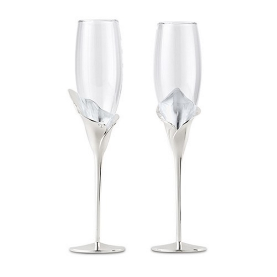 Photo of two Calla Lily Champagne glasses.