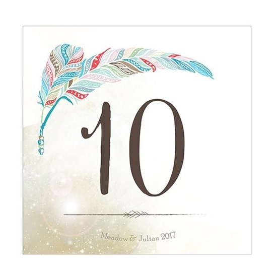 Picture of table number with a colorful feather design.