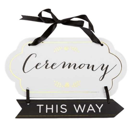 Photo of a Gold Accented Ceremony Guide Sign pointing right.