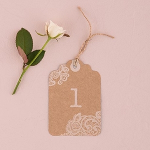 Image of a Wedding Lace Number Tag.