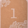 View of an upclose Wedding Lace Number Tag.