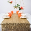 View of a Shimmery Gold Table Runner displayed