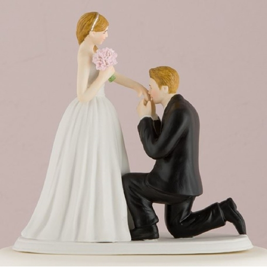 Image of a light tone On One Knee Bride and Groom Cake Topper.