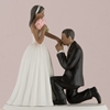 Picture of a dark tone On One Knee Bride and Groom Cake Topper.